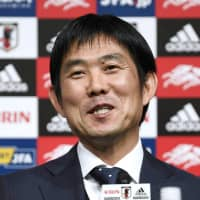 Samurai Blue head coach Hajime Moriyasu discusses his 2019 Asian Cup selections on Wednesday at JFA House. | KYODO