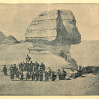 December 29, 1863: The Second Japanese Embassy to Europe (The Ikeda Mission) was sent by the Tokugawa shogunate and headed by Ikeda Nagaoki. On the way to France, the mission visited Egypt, where members of the mission were photographed at the Sphinx by Antonio Beato. | © NATIONAL DIET LIBRARY