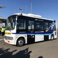 Driverless terminal bus goes on test run at Tokyo's Haneda airport