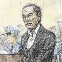 A courtroom sketch shows ex-Nissan Motor Co. boss Carlos Ghosn speaking at the Tokyo District Court on Tuesday. | KYODO
