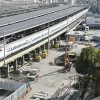 Construction for the maglev train route at Nagoya Station in December 2017 | KYODO