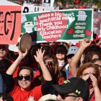 Striking teachers cheer Tuesday in Los Angeles as the teacher union reached a tentative deal with the Los Angeles Unified School District. Union members have to vote on the agreement to end the strike, which started on Jan. 14. | AFP-JIJI