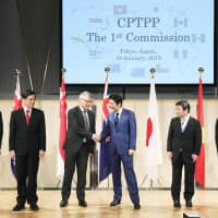 Prime Minister Shinzo Abe attends a ministerial meeting of the Comprehensive and Progressive Agreement for Trans-Pacific Partnership members in Tokyo on Saturday.                                                                                                 kyodo