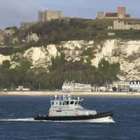 A Border Force patrol vessel leaves the Port of Dover in England on Wednesday. | AP