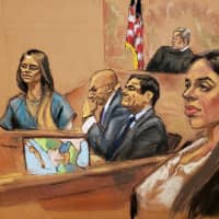 Lucero Guadalupe Sanchez Lopez, girlfriend (second. left) of accused Mexican drug lord Joaquin 'El Chapo' Guzman (second, right), testifies as Guzman's wife, Emma Coronel (right) looks on from the gallery, with Guzman's defense attorney Eduardo Balarezo (center) and prosecutor Anthony Nardozzi listening, in this courtroom sketch in Brooklyn federal court, in New York City Jan. 17. | JANE ROSENBERG / VIA REUTERS