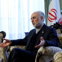 Iran's nuclear chief, Ali Akbar Salehi,gestures as he speaks to Reuters during an interview in Brussels in November. | REUTERS
