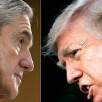 This photo combo created Jan. 8 shows then-FBI Director Robert Mueller (left) in 2013 and U.S. President Donald Trump in 2017. | AFP-JIJI