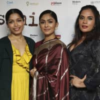 Actresses (from left) Freida PInto, Mrunal Thakur and Richa Chadha pose for photographers upon arrival at the premiere of the film 'Love Sonia' in London Wednesday. | GRANT POLLARD / INVISION / VIA AP