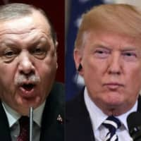 Turkish President Recep Tayyip Erdogan (left) deliverling a speech in Ankara last year; and U.S. President Donald Trump attends a press conference in Washington last July. Trump warned Turkey on Sunday of economic devastation if it attacks Kurdish forces in the wake of the U.S. troop pullout from Syria, while also urging the Kurds not to 'provoke' Ankara. | AFP-JIJI