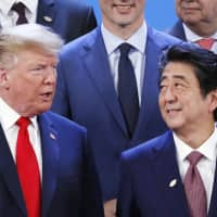 U.S. President Donald Trump and Prime Minister Shinzo Abe attend the G20 summit in Buenos Aires in November. | POOL / VIA KYODO