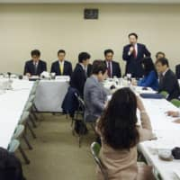 Yasumasa Nagamine (third from left), Japan's ambassador to South Korea, attends a meeting of Liberal Democratic Party lawmakers at the party's headquarters in Tokyo on Wednesday. | KYODO