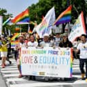 The Tokyo Rainbow Pride parade is held in Tokyo's Shibuya district in April last year.