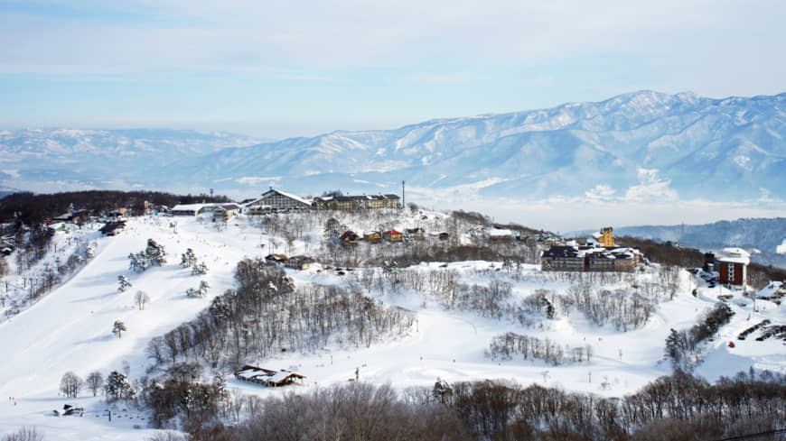 See the sea while you ski: The ski village of Madarao as seen from the slopes, with the Sea of Japan in the far distance.