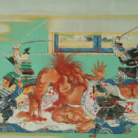 Devil's work: In this detail of Sumiyoshi Hironao's 'The Tale of The Drunken Demon' scrolls (19th century), the decapitated head of Shutendoji attempts to bite off Raiko's head. | NEZU MUSEUM