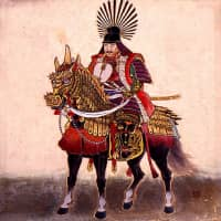 A depiction of Toyotomi Hideyoshi on his horse. | VIA WIKIMEDIA COMMONS (PUBLIC DOMAIN)