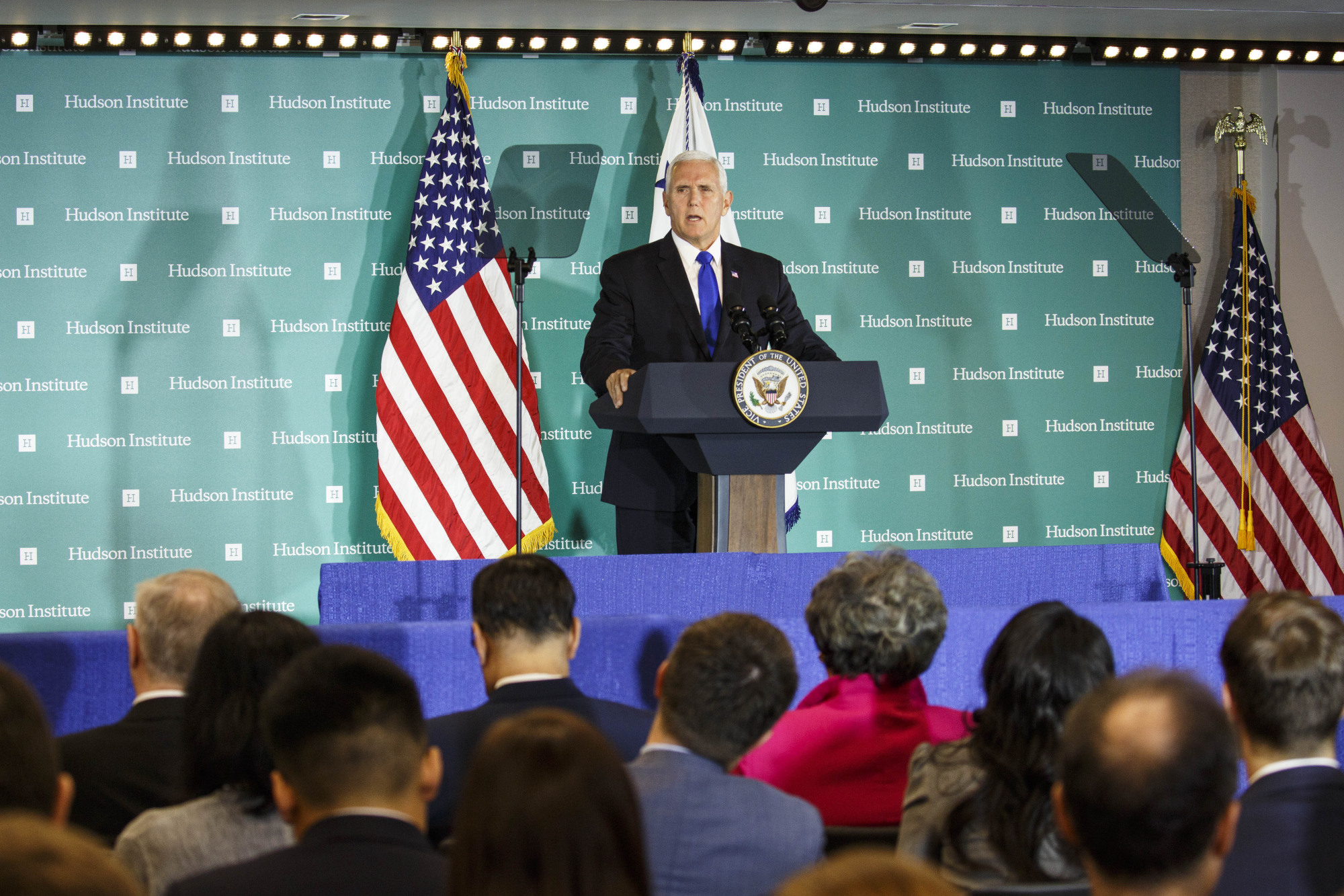 U.S. Vice President Mike Pence speaks Oct. 4 at the Hudson Institute in Washington. He attacked Beijing's 'Made in China 2025' policy, which aims to make China the world's AI  leader, and Chinese theft of American technology. | BLOOMBERG