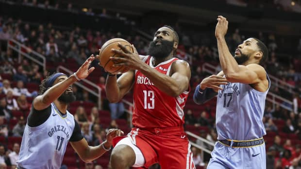 Rockets' James Harden rebounds from woeful shooting game, drops 57 on Grizzlies in rout