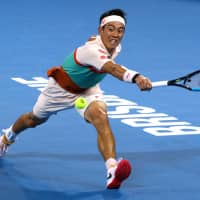 Kei Nishikori in action during his match against Russia's Daniil Medvedev during the men's final of the Brisbane International on Sunday. | REUTERS