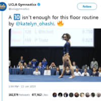 A tweet by UCLA Gymnastics of Katelyn Ohashi's viral floor routine has received nearly 36 million views since being published on Saturday.