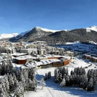 Aerial view of the congress center in Davos, Switzerland. | WORLD ECONOMIC FORUM / ANDY METTLER