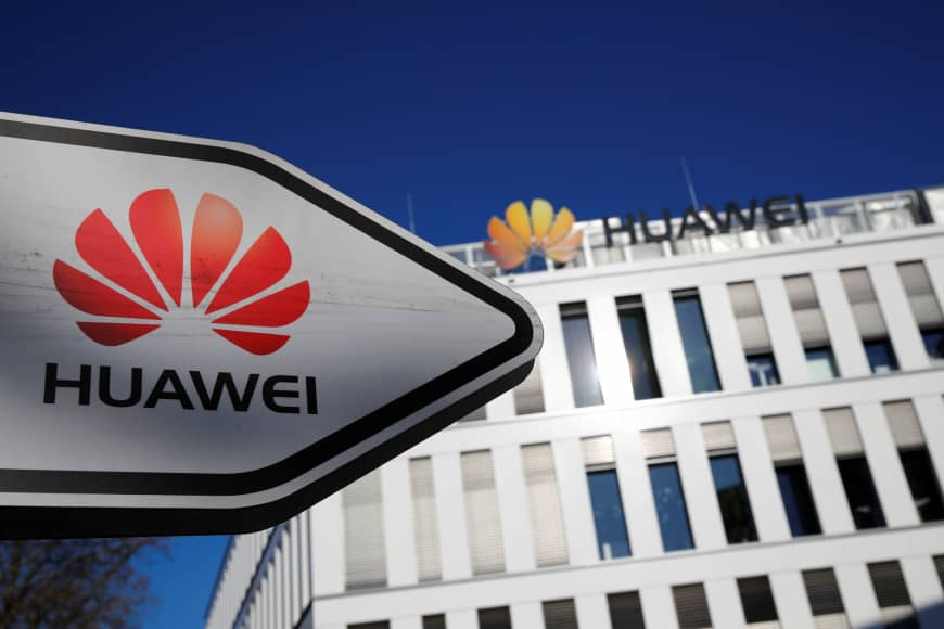 The Huawei Technologies logo is seen in front of the German headquarters of the Chinese telecommunications giant in Duesseldorf, Germany, Monday. | REUTERS