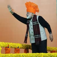 Indian Prime Minister Narendra Modi gestures during a public rally Sunday in Jammu, in the Indian state of Jammu and Kashmir. | AFP-JIJI