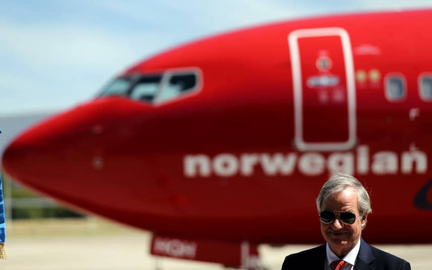 Bjorn Kjos, CEO of Norwegian Group, speaks during the presentation of Norwegian Air's first low-cost transatlantic flight service from Argentina at Ezeiza airport in Buenos Aires last March. | REUTERS