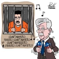 A cartoon caricature of John Bolton, U.S. President Donald Trump's national security adviser, is seen in this image provided by Venezuelan cartoonist Fernando Pinilla that now hangs framed on the wall of Bolton's West Wing office at the White House in Washington Wednesday. | COURTESY FERNANDO PINILLA / HANDOUT / VIA REUTERS