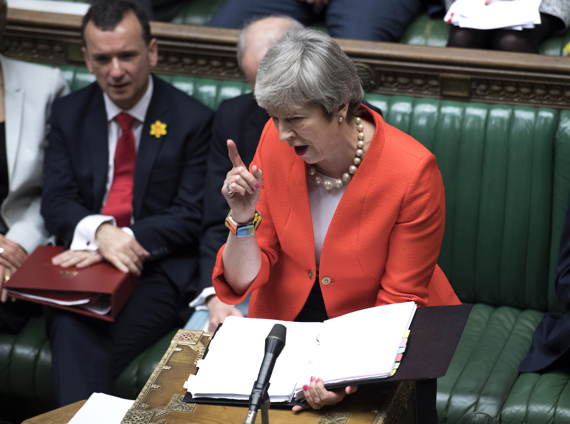 British Prime Minister Theresa May speaks to lawmakers in Parliament on Wednesday.   AP
