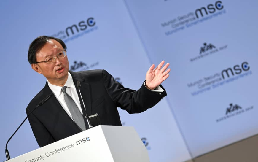 China's top diplomat, Yang Jiechi, speaks during the Munich Security Conference in the German city on Saturday. | REUTERS