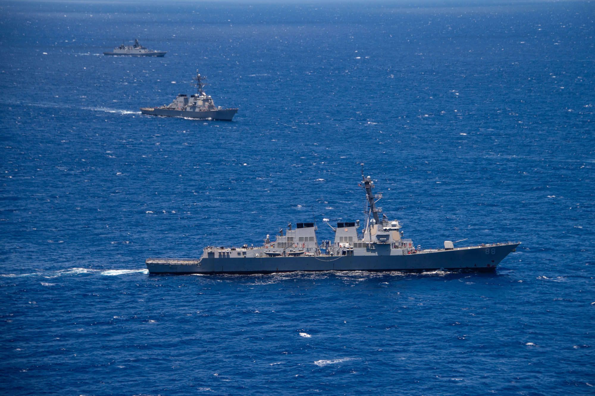 The guided-missile destroyer USS Preble participates in a group sail during the Rim of the Pacific (RIMPAC) exercise off the coast of Hawaii last July. | U.S. NAVY