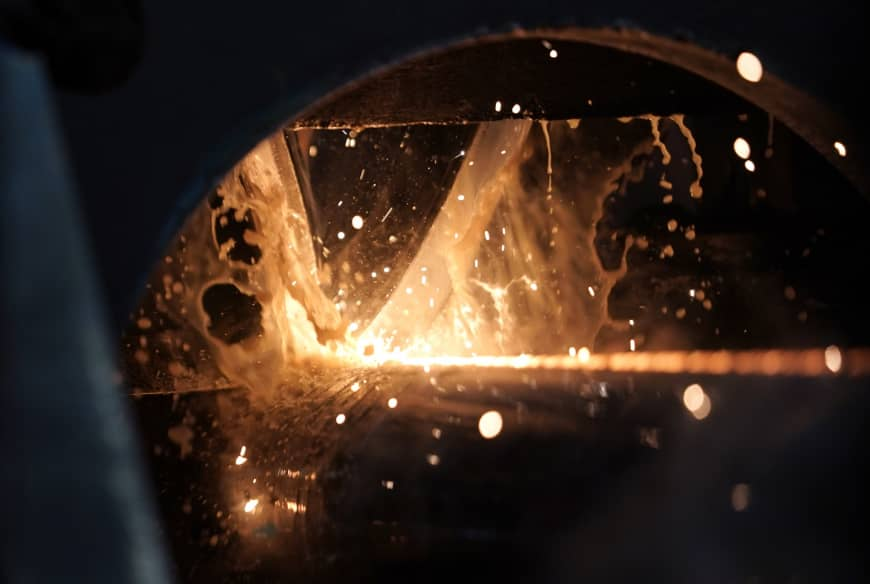 Steel is forged at the Borusan Mannesmann Pipe manufacturing facility in Baytown, Texas.   AP