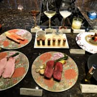 Dishes served at Mikio Atobe's restaurant Shunjukusei Hakko in Tokyo's Ginza district feature dry aged beef and fish made using aging sheets, as well as other fermented food products. | YOSHIAKI MIURA