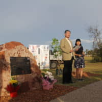 Shichiro Chiba, whose uncle died in the sinking of the I-124 submarine by an Australian warship, gives a speech Monday at a memorial service in Darwin, Australia, to commemorate the incident during World War II off the coast of Darwin. | KYODO