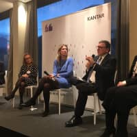 Silvana Koch-Mehrin (center), president and founder of Women Political Leaders, and Michelle Harrison (far right), CEO of Kantar Public, take part in a discussion on the sidelines of the World Economic Forum's annual meeting on Jan. 25.   Sayuri Daimon