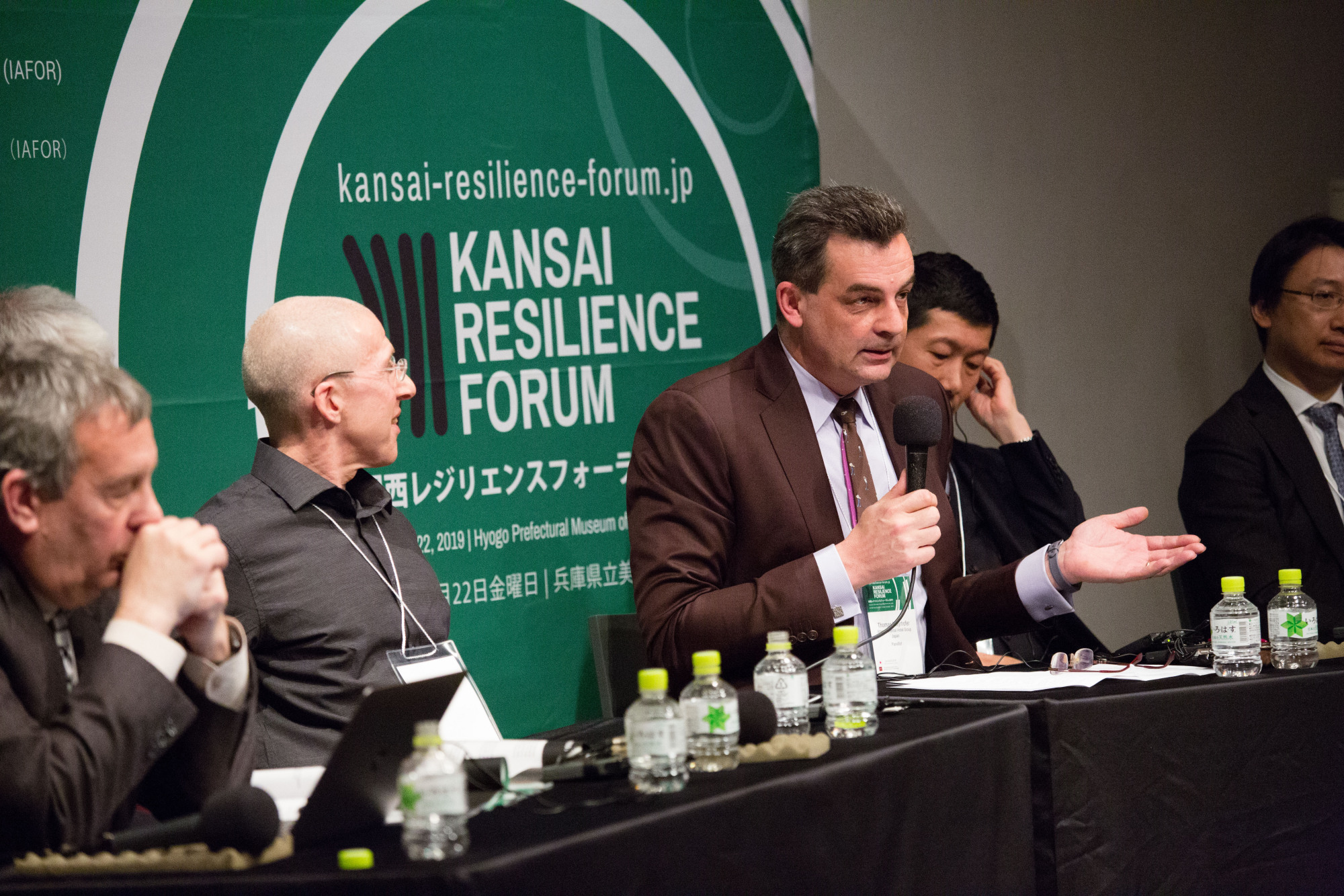 Thomas Mayrhofer, general manager of ANA Crowne Plaza Osaka, speaks at the Kansai Resilience Forum, an event organized last week by the government in collaboration with the International Academic Forum (IAFOR).   THADDEUS POPE / IAFOR MEDIA