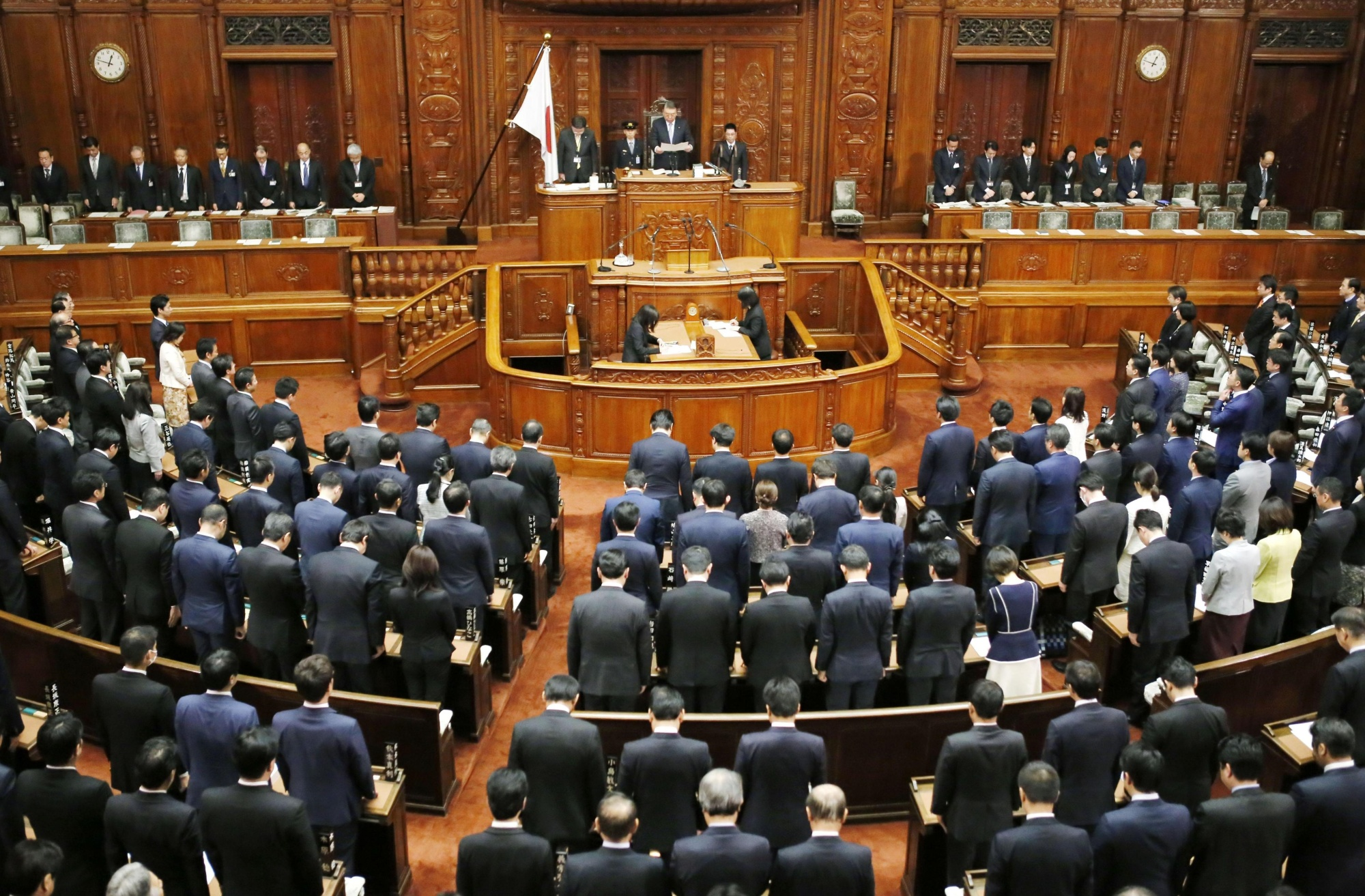 Lawmakers adopt a congratulatory message to Emperor Akihito for his 30-year reign during the Lower House plenary session on Tuesday.   KYODO