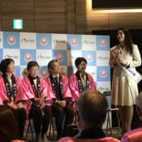 Kanako Date, Japan's representative for Miss World, speaks at an event to raise awareness of rubella vaccinations in Tokyo on Monday. | MASUMI KOIZUMI