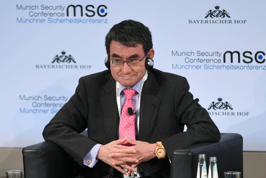 Foreign Minister Taro Kono attends the annual Munich Security Conference on Friday. | REUTERS