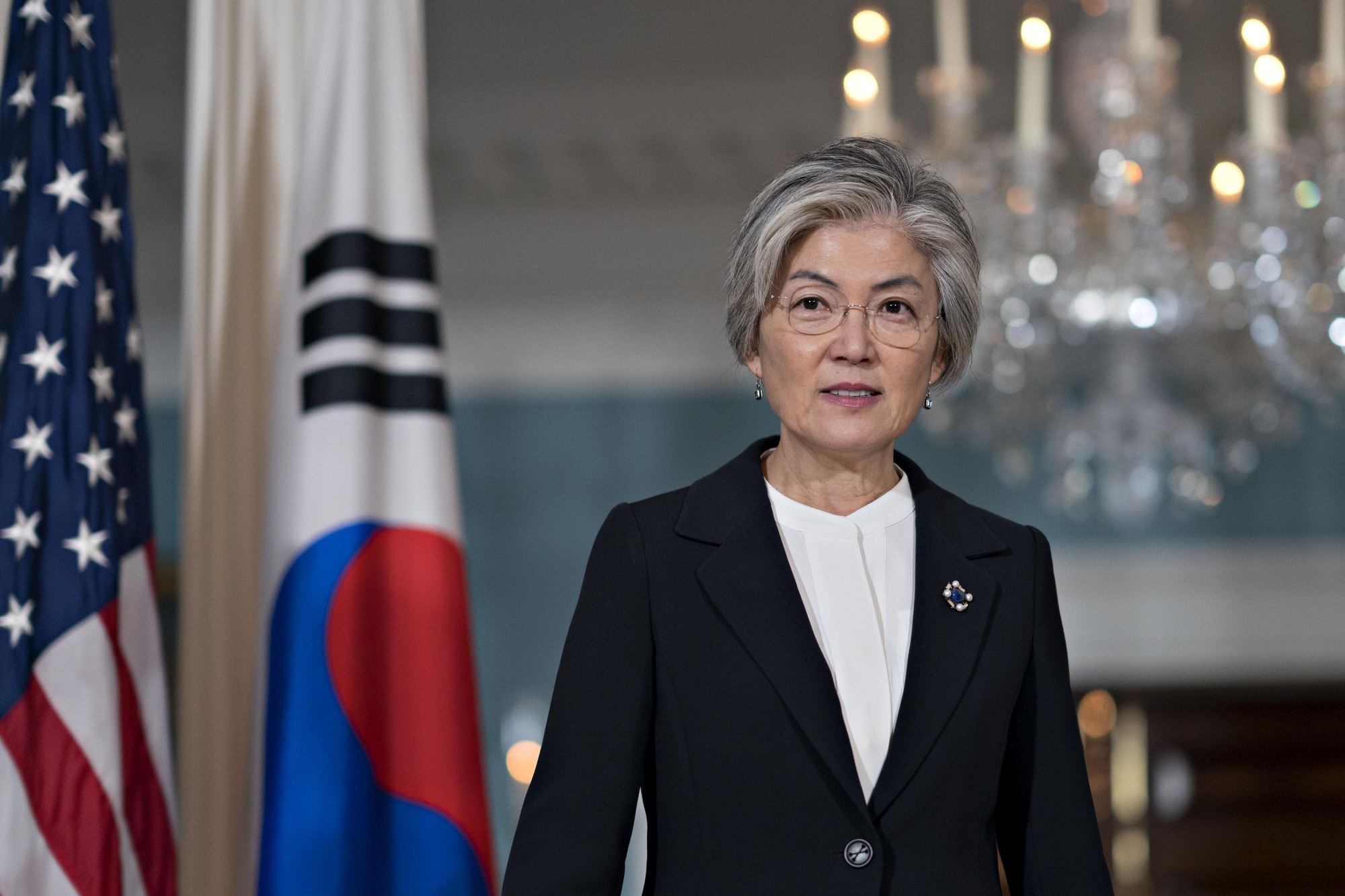Kang Kyung-wha, South Korea's foreign minister, walks out for a photo opportunity at the State Department in Washington on Dec. 6, 2018. | BLOOMBERG