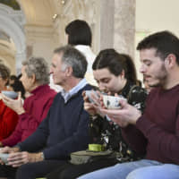 Visitors to the Petit Palais, a museum in Paris, are treated to a Japanese tea ceremony Sunday as part of an event to mark the 160th anniversary last year of friendship between Japan and France. | KYODO