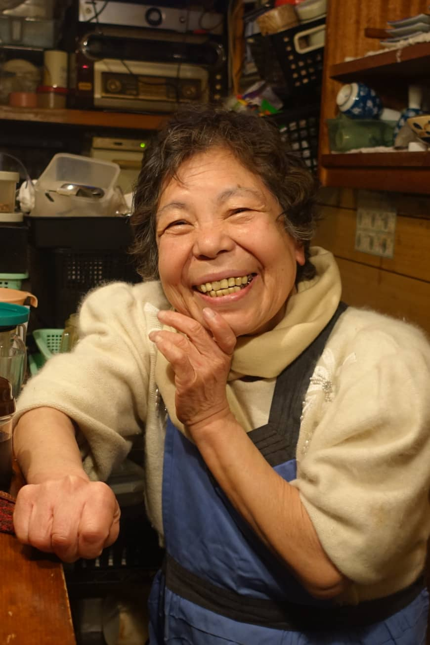 A neighborhood character: Toyoko Nakagawa, proprietor of Stand Toyo, is a beloved figure in Jigokudani.