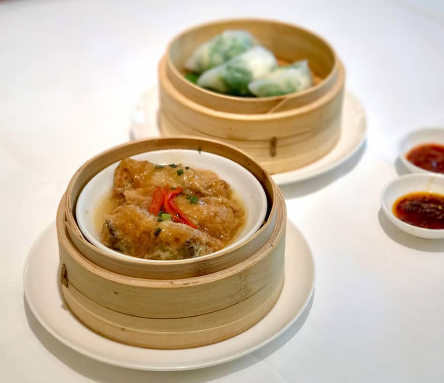 Classic dim sum offerings: Bean curd sheet rolls (front), with pea-shoot and prawn dumplings.