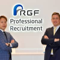RGF Professional Recruitment Japan Manager Takuya Sakamoto and Director Benjamin Cordier cite their database of job candidates as their largest advantage over competitors. | SATOKO KAWASAKI