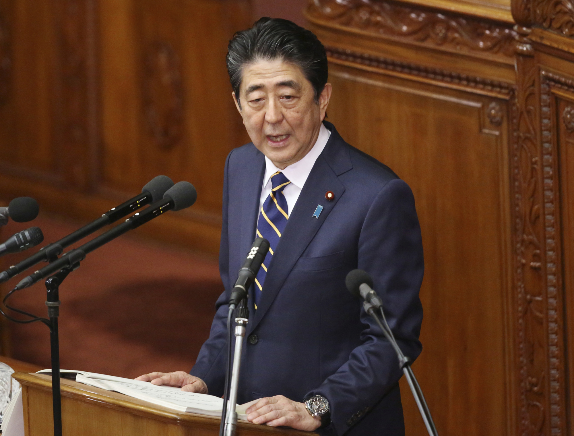 Delivering his policy speech in the Diet on Jan. 28, Prime Minister Shinzo Abe stated that he will further expand his country's already improving ties with China, but said Japan still needs to bolster its defense capability amid concern about Chinese military activity and uncertainty over North Korea's denuclearization.   AP