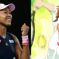 Spot the difference: A composite image shows Naomi Osaka in real life alongside the anime version that featured in a now-deleted YouTube ad for food company Nissin. | AP, YOUTUBE / VIA KYODO