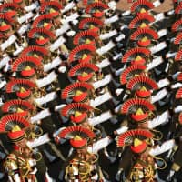 A Delhi Police contingent marches in the 70th Republic Day parade on Jan. 26. | AFP-JIJI