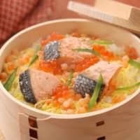 Wappa rice, served in a round wooden container, is one of Niigata's notable dishes.
