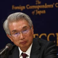 Junichiro Hironaka, lead lawyer for former Nissan chief Carlos Ghosn, attends a news conference at the Foreign Correspondents' Club of Japan in Tokyo on Monday. | AFP-JIJI