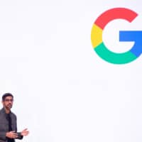 Sundar Pichai speaks on-stage during the annual Game Developers Conference at Moscone Center in San Francisco, California, on Tuesday. Google was fined €1.49 billion ($1.7 billion) on Wednesday for blocking rival online search advertisers, the third large European Union antitrust penalty for the Alphabet business in two only years | AFP-JIJI